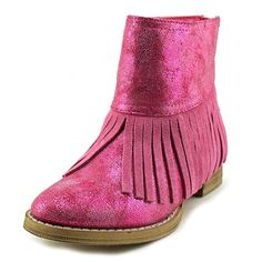 "Volatile Kids Itty Youth US 1 Pink Ankle Boot. The style name is Itty. The style number is ITTY-FUS. Brand Color: Fuchsia (Main Color: Pink). Material: Leather. Measurements: Shaft measures 5"", Circumference measures 8.5"" and 1"" heel. Width: M (Y)."