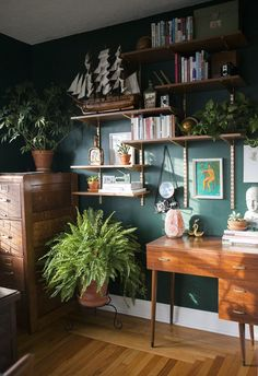 Hunter Green Home Office Magazine Ready for Life Boho Office Space part of the picture we offer you when you read this picture is exactly the features you are looking for you can see. In the picture Before & After: Hunter Green Home Office Decor, Home Office Decor, Interior, Home Decor, House Interior, Interior Design, Green Home Offices, Rugs In Living Room, Home Decor Furniture