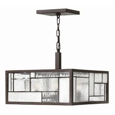"Hinkley Lighting Mondrian  Pendant in Buckeye Bronze    $399.00      Canopy dimensions: 7"" W x 7"" D  Overall dimensions: 13.25"" H x 16"" W x 16"" D"