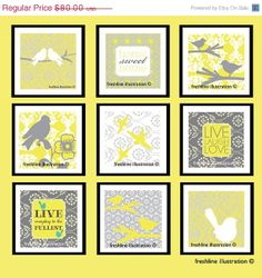 SALE  30 OFF Yellow and Gray BIrds and Sayings Wall by Freshline, $56.00