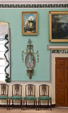 John Trumbull's George Washington at Verplanck's Point, a gift from the artist to Martha Washington, hangs on the New Room's east wall, a ge...