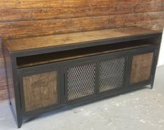 Modern Industrial Media Console with Component Niche • Industrial Furniture