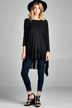 Round neck, long sleeves top with hi-lo fringe hem. Slightly heavier fabric drapes this top beautifully. Colors available: Black, Oatmeal 95% RAYON 5% SPANDEX