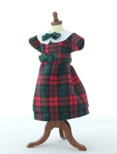 1/12 Scale Handmade girls tartan dress dollhouse by shaw1 on Etsy, £15.00