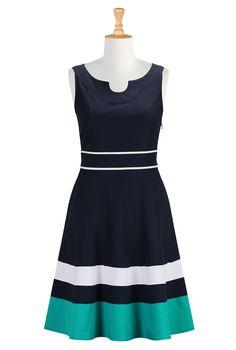 Colorblock Poplin Dresses, Stripe Hem Cotton Dresses Shop Women's Full sleeve dresses - Ladies Designer Dresses - Shop Evening Dresses, Casu...