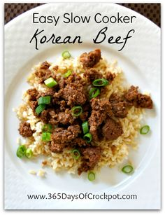 Andrew made. Really good, though need to do 2lbs hamburger next time. Recipe for Easy Slow Cooker Korean Beef