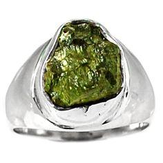 Genuine Czech Moldavite 925 Sterling Silver Ring Jewelry s.8.5 MLDR1609 - JJDesignerJewelry