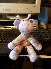 Inspired by traditional sock monkeys, this guy sits approximately 8 inches high. The only seaming involves stitching the ears and horns into place. Limbs are attached as the pattern is completed. This is a weekend project for many, and for some its completely nerve racking. Newer knitters tend to take to it more naturally.
