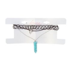<P>This tattoo choker and layered pendant necklace gives your hipster style a southwestern vibe. A black tattoo choker is combined with a black cord necklace that has an antique silver arrow pendant and a silver chain that hangs a crackled turquoise spike.</P><UL><LI>Choker: 1/2''W<LI>Pendants: 1/3''L<LI>Chains: 15''-19''L<LI>Lobster clasp closure</LI></UL>