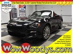 "One owner! This FIAT 124 Spider Lusso Top options include Convertible, Leather Heated Seats, Backup Camera, Navigation, 7"" Media Center, Bose Sound System w/Subwoofer & Blind Spot Monitoring. Plus, a strong Intercooled Turbo Premium Unleaded I-4 1.4 L/83 engine powering this Automatic transmission. Rear-Wheel Drive, Fixed Antenna, Fade-To-Off Interior Lighting.Want a custom video? Just text your name and the stock number to 660-247-5319 This vehicle's stock is 17HK09-855. #Fiat124 #Carshopping"