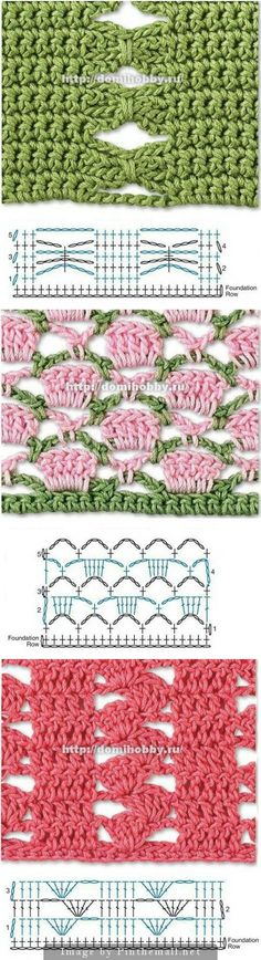 Beautiful #Crochet #Stitches - many more on this site - all with charts. Click on picture to check them out.