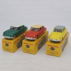 (59.00$)  Watch now - http://aiepj.worlditems.win/all/product.php?id=32753941138 - 1:43 Citroen DS 19 Diecast Atlas Dinky Toys 24CP 24C Green+Yellow+OrangeRed