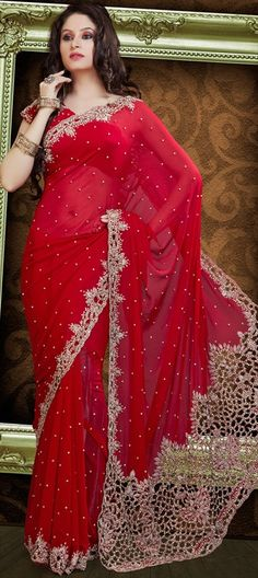 76346:Red and Maroon color family Saree with matching unstitched blouse; $305