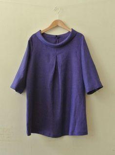 Linen blouse, CF inverted pleat