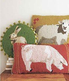 Hooked rug farm pillows.