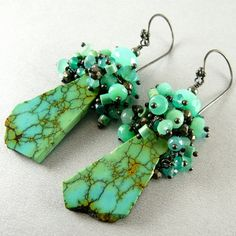 Summer Sale Natural Turquoise Slab And Sterling Silver Earrings Boho Jewelry, Beaded Jewelry, Handmade Jewelry, Jewelry Ideas, Simple Earrings, Beautiful Earrings, Color Turquesa, Green Quartz, Green Onyx