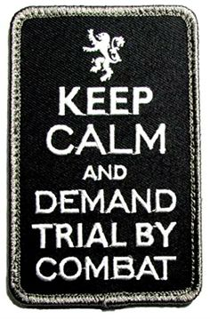 """[Single Count] Custom, Cool & Awesome {4"""" x 2.5"""" Inches} US Armed Forces Military Keep Calm And Demand Trial By Combat Text (Tactical Type) Velcro Patch """"Black & White"""" mySimple Products http://www.amazon.com/dp/B016YWNKUO/ref=cm_sw_r_pi_dp_flLXwb00RDPR3"""