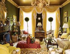 Mario Buatta did a Kips Bay showhouse living room. Living Room Green, Green Rooms, Living Rooms, Green Walls, Living Area, Kips Bay Showhouse, Mario Buatta, English Country Style, Yellow Interior