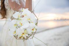 White orchids, modern, bouquet alternative, beach wedding // Erica Melissa
