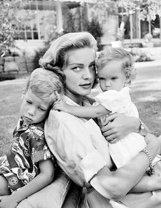 Lauren Bacall with children Stephen and Leslie
