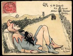 1907 (Jan. 1st) pen and ink and watercolour envelope with an unusual illustration depicting a clown clutching a small figure to his chest and inscribed 'He's All Right My Dear', sent from Bramley, Yorks., to Sutton on Derwent