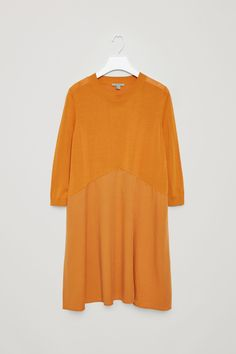 COS image 5 of Dress with twill skirt in Camel