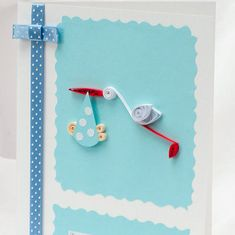 Baby Shower Card Quilling Baby Boy by PaperParadisePL on Etsy