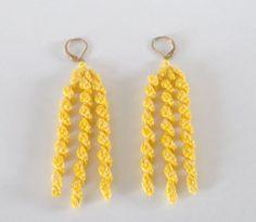 Hand Created Earrings Bright Yellow Earrings Thread by cyicrochet, $15.99