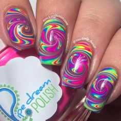 Mucking Fusser: Rainbow Spiral Water Marble Nail Art Featuring Pipe Dream Polish A Night in Vegas collection Gorgeous Nails, Love Nails, Pretty Nails, Water Marble Nail Art, Rainbow Nails, Cute Nail Art, Cute Nail Designs, Creative Nails, Diy Nails