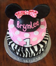 minnie mouse birthday cakes | Straight to Cake: Minnie Mouse - Zebra 1st Birthday Cake