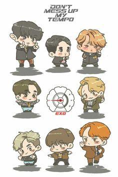 Don't mess up my tempo chibi Exo Stickers, Cute Stickers, Kpop Drawings, Cute Drawings, Baekhyun, Exo Cartoon, Exo Anime, Chibi Wallpaper, Book Of Circus