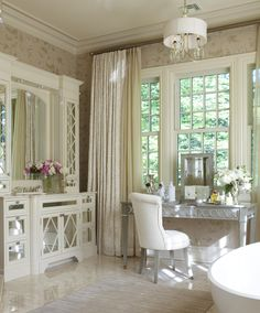 Dressing table, layered curtains, mirrored dresser doors, lots of shades of white....like it all