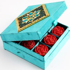 Ghasitaram's Sugarfree Blue Kaju Roses Box - Online Shopping for Diwali Sweet Hampers by Ghasitaram Gifts