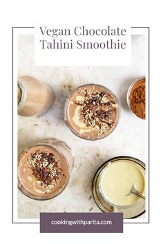 Chocolate Tahini Smoothie – an indulgent breakfast, which is also healthy + involves chocolate? YES PLEASE! Make this delicious chocolate protein shake with vegan protein powder! This smoothie has recently become my go-to breakfast on days I'm craving something sweet! #vegan #smootie #shake #chocolateshake #tahinismoothie #tahini