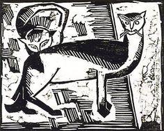 die brucke woodcuts   Karl Schmidt-Rotluff, Two Cats , 1915, Woodcut.
