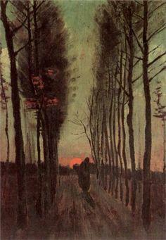 Avenue of Poplars at Sunset ~ Vincent van Gogh - verticales