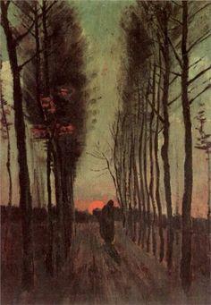 Avenue of Poplars at Sunset ~ Vincent van Gogh - verticales