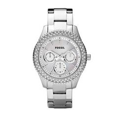 Ladies Fossil stainless steel Stella watch with double stone detail on the bezel. http://www.sterns.co.za