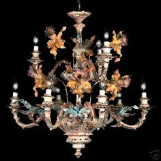NEW CAPODIMONTE Chandelier Orchids Mother of Pearl 9 Lt Made in Italy