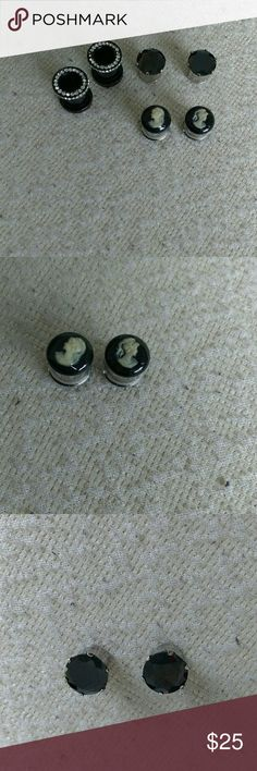 *LASTDAYTOPURCHASE*Formal Gauge Bundle Three darling gauges sized 00 or 10mm. One black cameo pair, one black rhinestone pair, and one studded black pair (with two rhinestones missing-picture 4). All made of metals and in great condition. unknown Jewelry