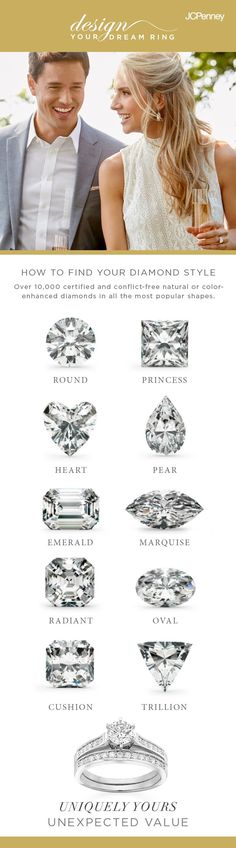 There's more to a diamond than meets the eye. With engagement season in full swing, the time to envision your engagement ring is now. Round diamonds may be the most popular, but other shapes like marquise, emerald, cushion and princess cut are all equally gorgeous contenders. While some rings feature a single center stone, others include diamonds or gemstones in the band, as well. First, find the shape of diamond she loves, then find her forever ring at a great price at JCPenney.
