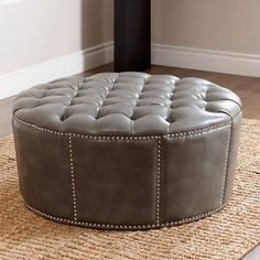 abbyson havana round leather coffee table (white) | leather coffee