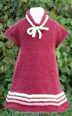 ABC Knitting Patterns - Girl's Old-Time Raglan Banded Dress