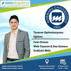 Marmara Üniversitesi Teknoloji Fakültesi 1. Kariyer Günleri etkinlikleri kapsamında 27 Nisan Çarşamba günü Tasarım Optimizasyonu Eğitimi vereceğim. www.seoakademi.com.tr www.cemorman.com.tr #seo #seoakademi #seoeğitimi #webtasarım #webtasarımeğitimi #marmaraüniversitesi #cemorman
