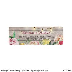 Shop Vintage Floral String Lights Rustic Wood Wedding Label created by ReadyCardCard. Personalize it with photos & text or purchase as is! Diy Wood Projects, Wood Crafts, Natural Wood Table, Wedding Address Labels, Wood Texture Background, Vintage Floral, Vintage Modern, Wedding In The Woods, Diy Wall Art