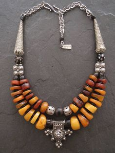 Antique Moroccan Amber Necklace with Berber Silver Bogdad