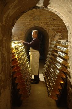 "Champagne Louis Roederer, Cellars Riddler – ""Riddling"" (remuage in French) Roederer Champagne, Cristal Champagne, Champagne Bottles, Drink Bottles, Louis Roederer, Seo And Sem, Wine Vineyards, In Vino Veritas, Italian Wine"