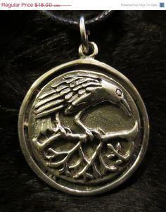 SALE Wiccan Pagan Celtic Raven Pendant Lead by theblackcatcloset