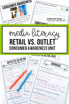Media Literacy & Consumer Awareness - Help your students develop a deeper understanding of media literacy and consumer awareness with this engaging lesson on how outlet and retail stores are different. This lesson also shows students the different techniques outlet stores use to get consumers to purchase products. #medialiteracy #digitalliteracy #lessonplans