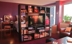 Bookcase / Room Divider / Media Center in front of bed and beginning living space.
